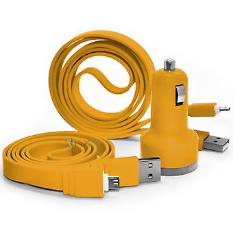 Huawei P8 In Car Dual Port 2.1 Amp Bullet USB Charger + 2x Micro USB Data Sync Cable (Yellow)