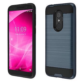 ASMYNA Brushed Hybrid Case for T-Mobile Revvl 2/Revvl 2/3 - Ink Blue/Black