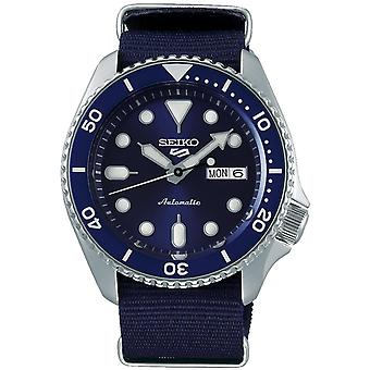 Seiko 5 Sports Blue Dial Canvas Strap Automatique Hommes-apos;s Regarder SRPD51K2