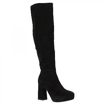 Leonardo Sko Kvinner's håndlagde knehøye støvler svart semsket skinn glidelås lukking