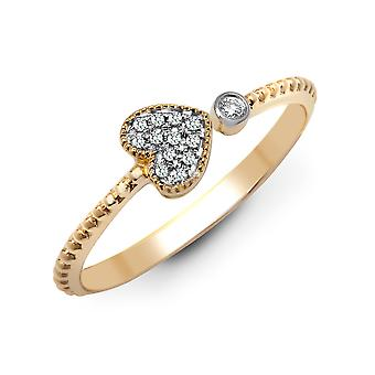 Jewelco London Solid 9ct Yellow Gold Pave Set Round H I1 0.07ct Diamond Beaded Love Heart Arrow Cluster Ring 5.5mm