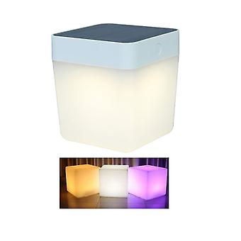 Lutec Table Cube Solar Powered Colour Changing RGB LED Lantern In White