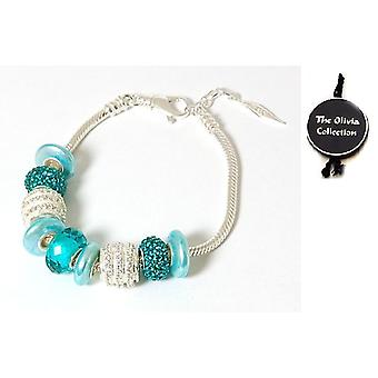 TOC Beadz Sterling Silver Brilliant-Blue Crystal parel armband