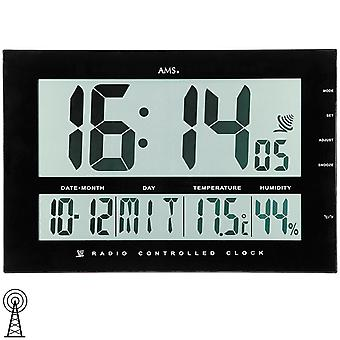 AMS 5895 Wall Clock Table Clock Funk Black Digital Date Thermometer Alarm Clock