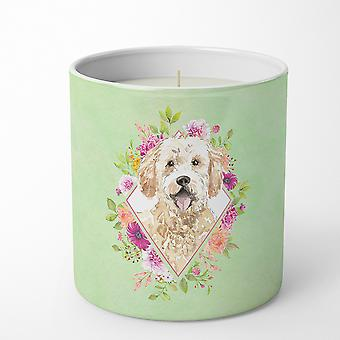 Goldendoodle Green Flowers 10 oz Decorative Soy Candle
