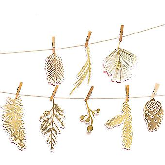 Forest Leaf Tags with Gold Foil design x 24 Advent Gifts with Pegs