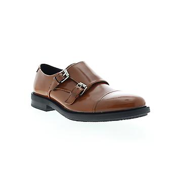 Calvin Klein Candon  Mens Brown Leather Dress Monk Strap Shoes