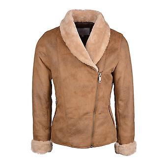 Wengen Faux Sheepskin Aviator Jacket in Cognac