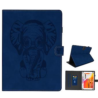 Elephant Flip Folio Case with Card Slots & Kickstand for 10 inch Tablet- Blue