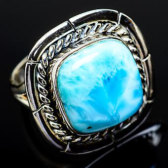 Larimar Ring Size 6.5 (925 Sterling Silver)  - Handmade Boho Vintage Jewelry RING11922