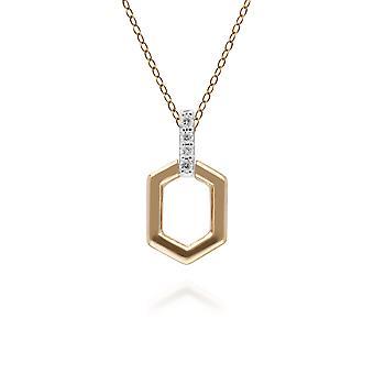 الماس مهد قلادة قلادة بار في 9ct الذهب الأصفر 191P0735029