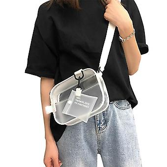 Causual PVC Transparent Clear Crossbody Shoulder Bag - Handbag Jelly Small Phone Bags with Card Holder Wide Straps Flap