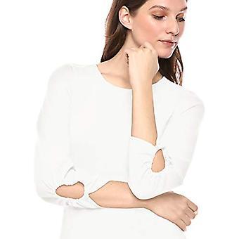 Marke - Lark & Ro Women's gesammelt 3/4 Ärmel Rundhals-Fit und Flare Kleid mit Taschen, Elfenbein, 10