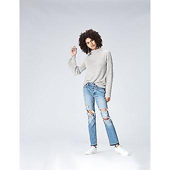 find. Women's Soft High Neck Long Sleeve Sweater,  -Grey (Grey Marl), EU L (U...