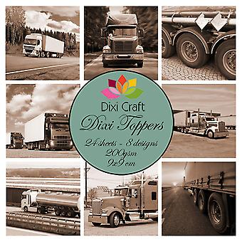 Dixi Craft Trucks Brown 9x9 cm Toppers