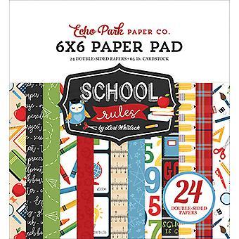 Echo Park School Rules 6x6 Polegadas Bloco de papel