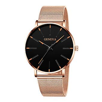 Geneva Quartz Watch - Anologue Luxury Movement for Men and Women - Stainless Steel - Gold