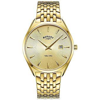 Rotary Män's Ultra Slim | Guldpläterade stål armband | Guld Dial GB08013/03 Klocka