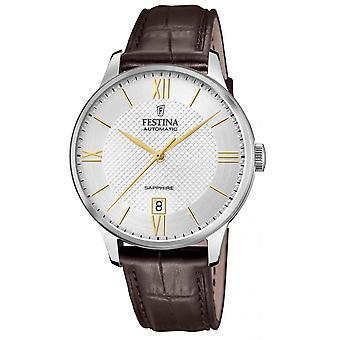 Uhr Festina F20484-2 - AUTOMATIC Dateur Tier Stahl Silber Leder Armband braun Männer