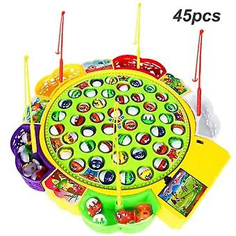 Kids Electric Rotating Fishing Play Game - Musical Fish Plate Set Magnetic Outdoor Sports Toys For Children Gifts