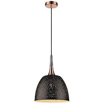 1 Light Dome Ceiling Pendant Black, Copper, E27