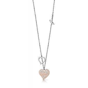 Halsband och hänge hjärta UPPVÄRMNINGEN UBN78067 - halsband och pendel stål cha antar inte pampille c? din dor rosa kristaller Swarovski kvinna