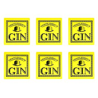 Durobor Cork Coasters Set - Gentlemen's Gin - Square Vintage Style Drinks Mats - Yellow - Pack of 6