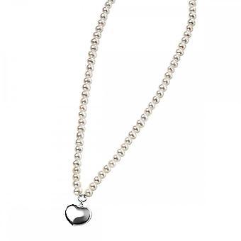 بدايات الجنيه الاسترليني الفضة الأبيض المياه العذبة نفخة القلب 41 +5cm القلائد N2702W