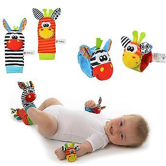 Newborn Baby Infant Cartoon Animal Soft Rattles Wristband Finders Socks