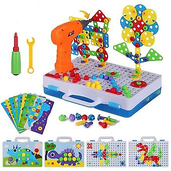 Electric Drill Puzzle Screwing Blocks Toy, Creative Design Educational