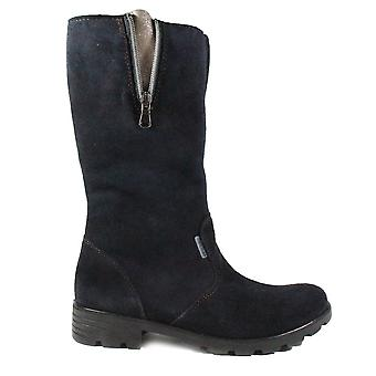 Ricosta Liana 7225200-182 Navy Suede Leather Girls Long Leg Boots