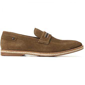 Basis London Kinsey Mens Suede Loafers Khaki