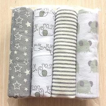 4pcs/pack Cotton Flannel Receiving Baby Blanket- Newborn Colorful Cobertor Baby
