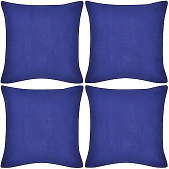 4 blue pillowcases cotton 50 x 50 cm