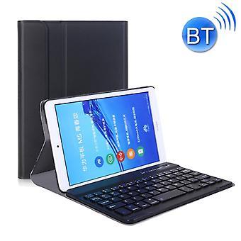 A0M5 Irrotettava Bluetooth-näppäimistö + Ultrathin vaakasuora flip nahkakotelo Huawei MediaPad M5 & Honor Tab 5 8 tuumaa, pidike (musta)