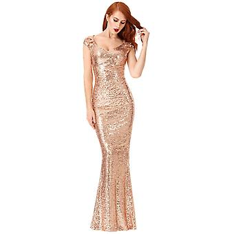 Champagne sequin sweetheart necked maxi dress