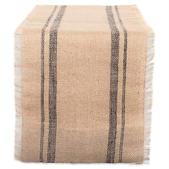 Dii Mineral Double Border Burlap Table Runner