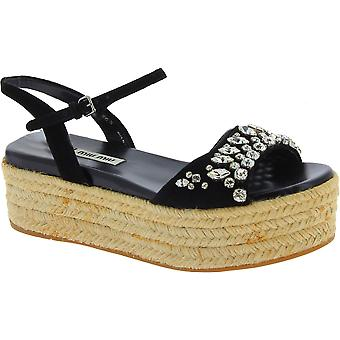 Miu Miu black wedge sandals with crystals and rope pattern