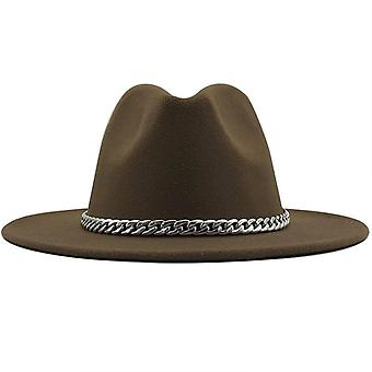 New Quality Wide Brim Fedora Hat Women Men Imitation Wool Felt With Metal Chain