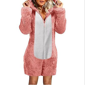 Women's Fall/winter Hooded Pajamas With Plush Thick Plush Jumpsuit