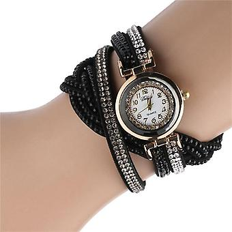 Mode Casual Gold Quarz Strass Leder Armband Uhr