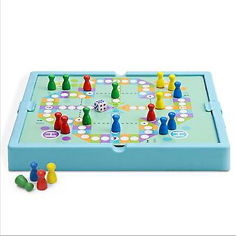 Double Faced Wooden Chinese Checkers Flying Ludo Board Set Kid Family Toy Mental Exercises