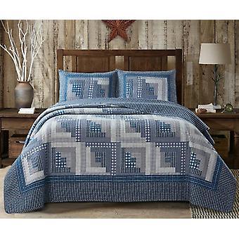 3Pcs Bedspread Oriental Montana Cabin Blue & Gray Traditional King/Queen Quilt