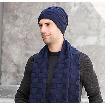 Winter Mannen Gebreide Lange Sjaal Hoed / handschoenen Set Man Warme Pluche Bescherming Ear Cap