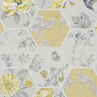 Chinoise Decoupage Wallpaper Ochre Arthouse 908901