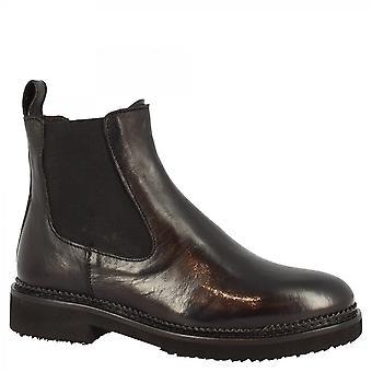 Leonardo Shoes Women's käsintehdyt pyöreät varvas nilkkasaappaat mustassa vasikannahassa sivuvetoketjulla