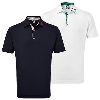 Footjoy Mens Palm Print Trim Pique Wicking SPF 30  Golf Polo Shirt