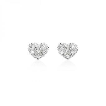 Joma Jewellery Bella Silver Pave Heart Stud Earrings 3911