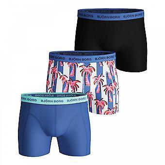 Bjorn Borg Essential Palmstripe 3 Pack Shorts, Ultramarine, Large