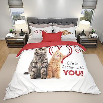 Parure mångfärgade katter påslakan i bomull, L150xP200 cm, L52xP82 cm